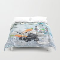 vodka Duvet Covers featuring Holiday Cheer! (Melted Snowman Spirits) by soaring anchor designs