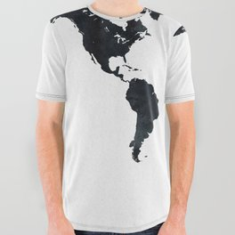 World Map in Black and White Ink on Paper All Over Graphic Tee