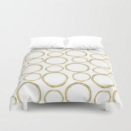 White & Gold Circles Duvet Cover