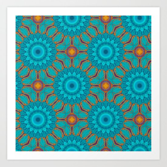 Teal Glitter Pattern Art Print