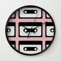 cassette Wall Clocks featuring Cassette pattern by Georgiana Paraschiv