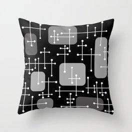 1950s Eames Era Art Crosshairs Black White Throw Pillow