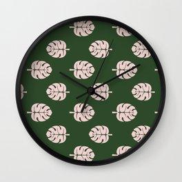 Tropical leaves Monstera deliciosa emerald and pink #monstera #tropical #leaves #floral #homedecor Wall Clock