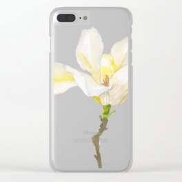 White Magnolia Watercolor Clear iPhone Case