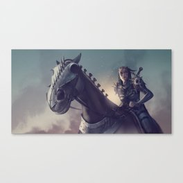 Roe sitting on a horse BLUE Canvas Print