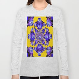 Golden Yellow Purple Pansy Geometric Abstract Long Sleeve T-shirt