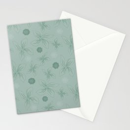 Mint grey green tropical flower print Stationery Cards