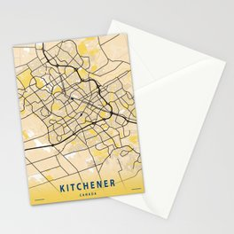 Kitchener Yellow City Map Stationery Cards