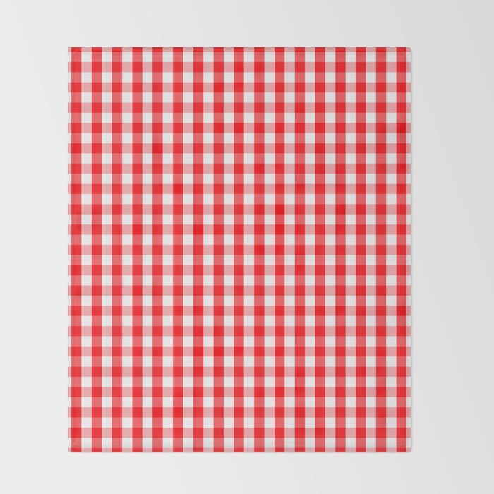 Large Christmas Red And White Gingham Check Plaid Throw Blanket