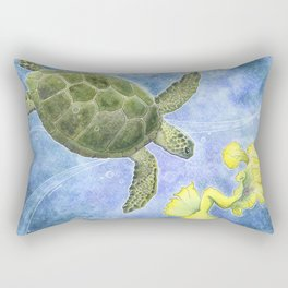 The Sea Turtle and Sea Nymph Rectangular Pillow