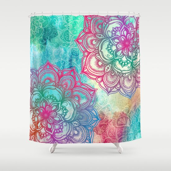 Round Amp Round The Rainbow Shower Curtain By Micklyn