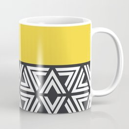 Black, White and Yellow Geo Coffee Mug