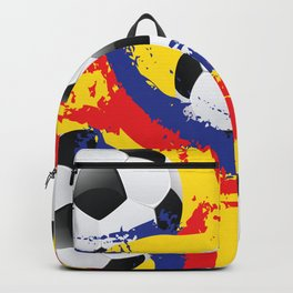 Football Ball and red, blue and yellow Strokes Backpack