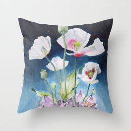 Papaver Somniferum and Amethyst Crystal on a Stary Night at Dawn Throw Pillow