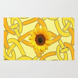 Decorative Yellow Sunflowers Celtic Pattern Art Rug