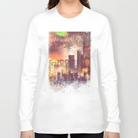 manhattan Long Sleeve T-shirts featuring Good night Manhattan by HappyMelvin
