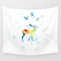 sia Wall Tapestries featuring Watercolor deer by Mrs. Opossum