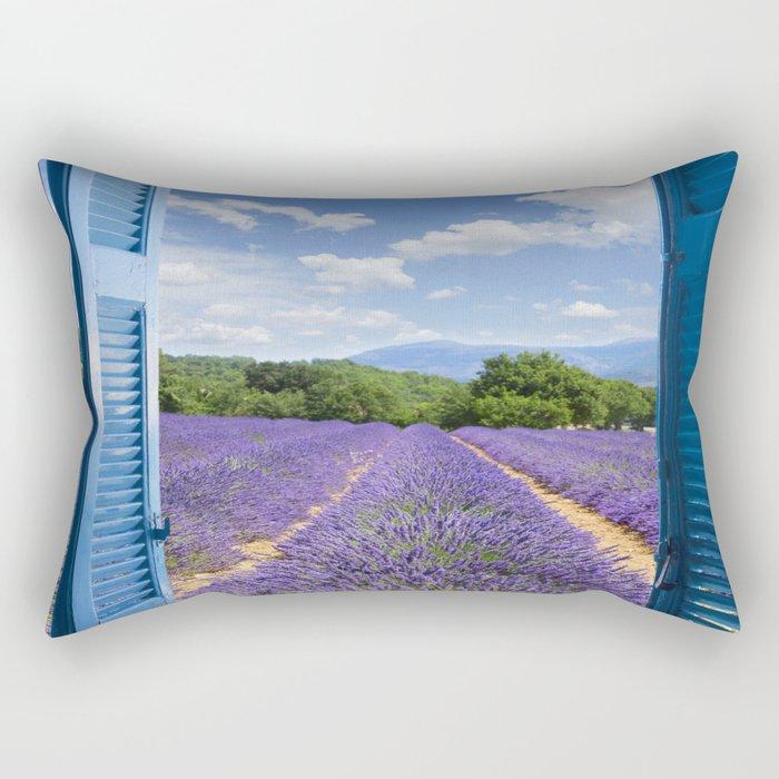 wooden shutters, lavender field Rectangular Pillow