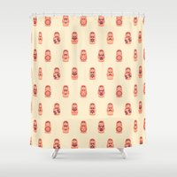russian Shower Curtains featuring Russian Dolls by Kid Khronos