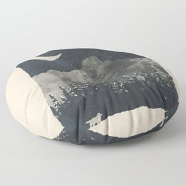 Winter Finds the Wolf... Floor Pillow