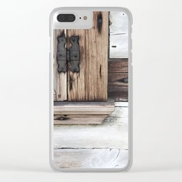 gray brown window frame Clear iPhone Case