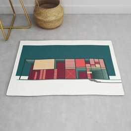 Mid-Century Modern Architecture in California - Pink, Yellow, & Blue Rug