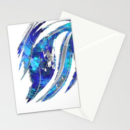 Blue and White Abstract Art - Flowing 2 - Sharon Cummings Stationery Cards