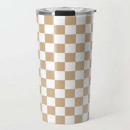 Small Checkered - White and Tan Brown Travel Mug