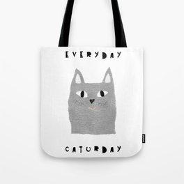 Caturday / poster, cat, art print, pictures, scandinavian, nursery, deco, family, art, animal, petti Tote Bag
