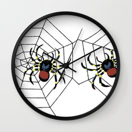 two big Spider Halloween web Wall Clock