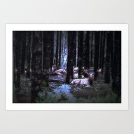 Faces in the Woods mod Art Print