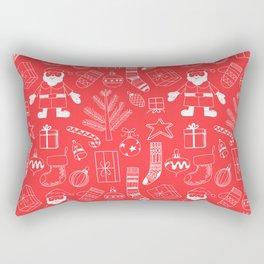 Doodle Christmas pattern red Rectangular Pillow