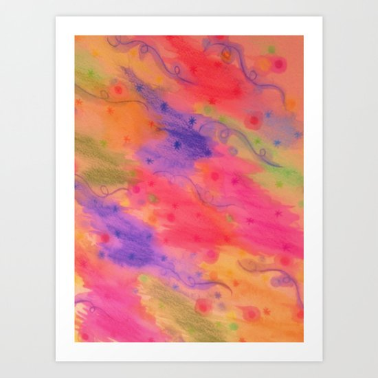 SEEING STARS 3 - Peach Pink Pretty Starry Sky Abstract Watercolor Painting Lovely Feminine Pattern Art Print
