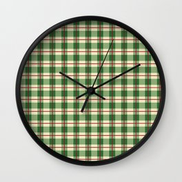 Plaid Pattern in Green and Beige Wall Clock