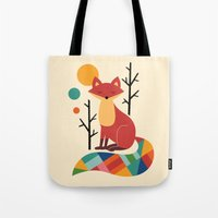 rose Tote Bags featuring Rainbow Fox by Andy Westface