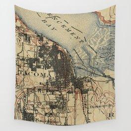 Vintage Map of Tacoma Washington (1895) Wall Tapestry