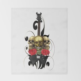 Red Rose Skull Rock and Roll Throw Blanket