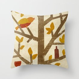 birds and wine Throw Pillow