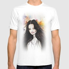 Ariane Watercolour  MEDIUM White Mens Fitted Tee