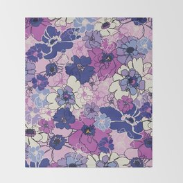 Red Violet and Navy Anemones Throw Blanket