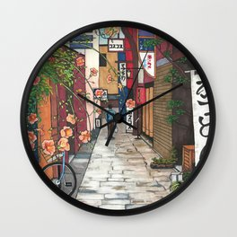 Flowers in an Alley Wall Clock