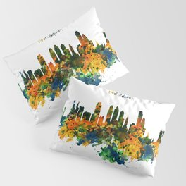 Philadelphia Watercolor Skyline Pillow Sham