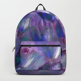Purple, Red and Blue Abstract Flowers Backpack