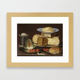 Clara Peeters - Still Life with Cheeses, Artichoke, and Cherries Framed Art Print