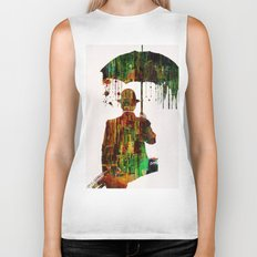 Rain in the abstract city Biker Tank