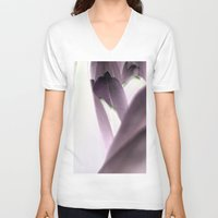 tulip V-neck T-shirts featuring tulip by habish