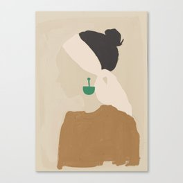 Minimalist Woman with Green Earring Canvas Print