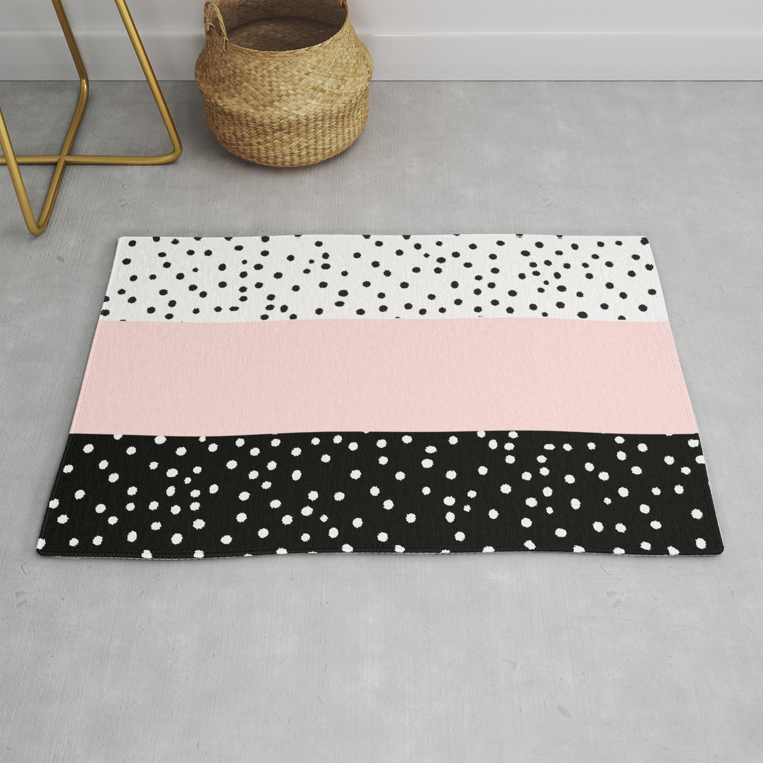 Picture of: Pink White Black Watercolor Polka Dots Rug By Pink Water Society6
