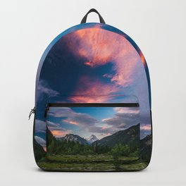 Amazing sunset clouds over mountain Mangart Backpack