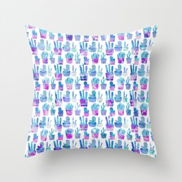 Modern hand painted pink teal watercolor cute cactus floral Throw Pillow
